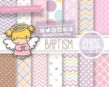 Baptism Digital Paper Clip art Pink Purple Little Angels Latin Afroamerican Blonde Chevron Hearts Baptism Chocolate Caramelo by Lagartixa