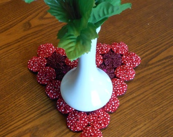 Double Sided Red and Burgundy Yoyo Heart Trivet