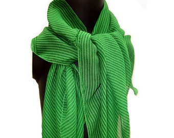 SALE! was 17 USD now...Tassel scarf,green , striped in semi chiffon. Free shipping.