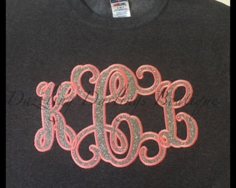 MONOGRAMMED SWEATSHIRT GLITTER with heat transfer glitter vinyl and stitching