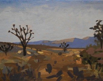 Joshua Tree Sentinel-Original Semi-Abstract Landscape Painting, Shelley Hull