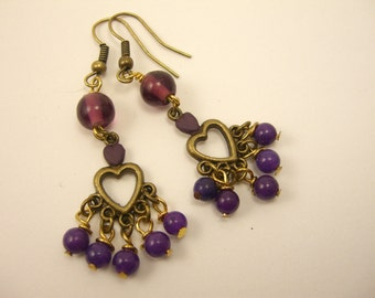 Purple and Brass Heart Earrings