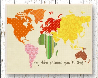Oh, the Places you'll Go! Dr Seuss World map art Montessori Classroom playroom art Kids wall art red orange green artwork art for children