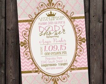 pink and gold princess baby shower invitation, pink and gold baby shower invitations, princess invitations, gold crown, customized digital