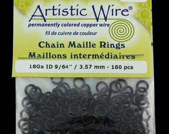 "Artistic Wire Black Jump Ring 3.5mm ID (9/64"") 18ga (pkg/160)  (900AWB-04)"
