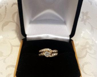 Diamond Wedding Set in 14k Yellow Gold w/Custom Square Shank - EB268