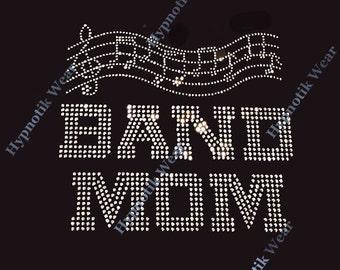 "Rhinestone Transfer ""Music Notes Band Mom"" Iron On, Hot Fix, Bling"