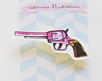 Pink toy pistol brooch