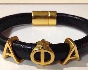 Alpha Phi Alpha Leather Cuff Bracelet
