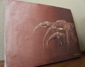 """African Canvas Painting: Family of Abstract Elephants (9.25"""" x 7.25"""")"""