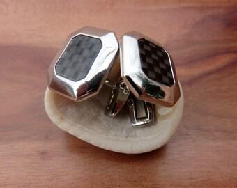 Vintage Silver Toned Mid Century Modern Black Geometric Cufflinks Cuff Links