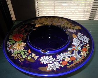 1950s large cobalt blue style of Imari floral ashtray from japan near mint