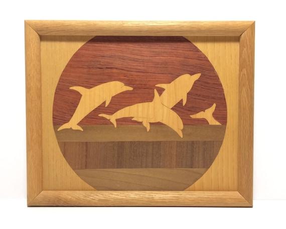 Wood Inlay Wall Decor : Vintage wood inlay dolphin art alaskan marquetry wall decor