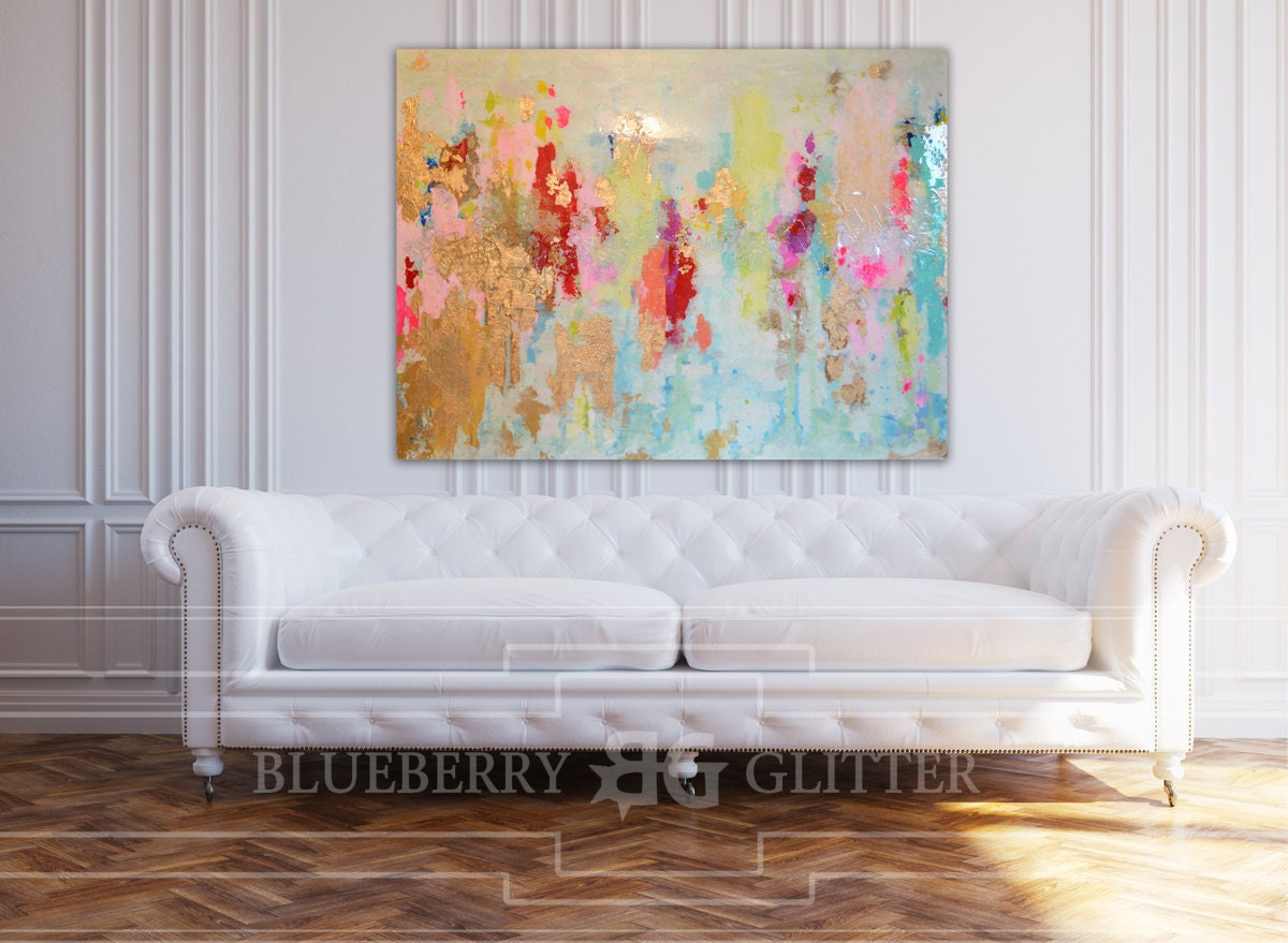 Sold acrylic abstract art large canvas painting blue pink for Gold paintings on canvas