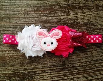 Easter Hair Clip - Bunny Hair Bow - Easter Bunny Hair Bow - Baby Hair Clip - Bunny Headband - Felt Hair Clip - Easter Headband