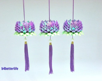 3pcs Small size Purple Color Origami Hanging Lotus. (AV Paper Series).