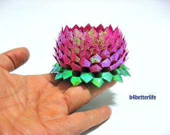 A Piece of Large Size Maroon Color Origami Lotus. 132 Petals. (CY paper series).