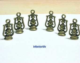 "Lot of 24pcs Antique Bronze Tone ""Oil Lamp"" Metal Charms. #BC3057."