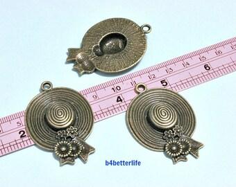 "Lot of 15pcs Antique Bronze Tone ""Lady Hat"" Metal Charms. #BC3389."