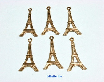 "Lot of 24pcs ""Eiffel Tower"" Gold Color Plated Metal Charms. #XX465."