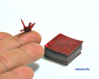 """180 Sheets Red Color 1-inch Origami Crane Paper Folding Kit. 1"""" x 1"""". (4D Glittering paper series)."""