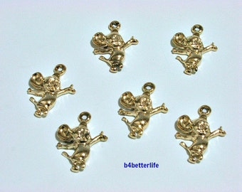 """Lot of 24pcs """"Charming Mouse"""" Gold Color Plated Metal Charms. #XX359."""