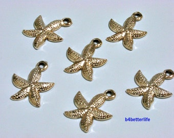"""Lot of 24pcs """"Starfish"""" Gold Color Plated Metal Charms. #XX123."""