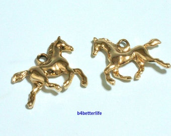 "Lot of 24pcs Double Sided  ""Horse"" Gold Color Plated Metal Charms. #XX104."