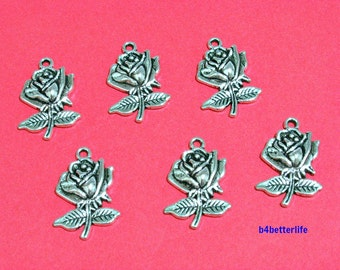 "Lot of 24pcs Antique Silver Tone ""Rose"" Metal Charms. #JL3369."