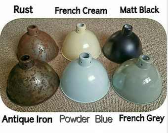 Cast Iron Hanging Pendant Lamp Shade Light Vintage Industrial Salvage Style Rustic