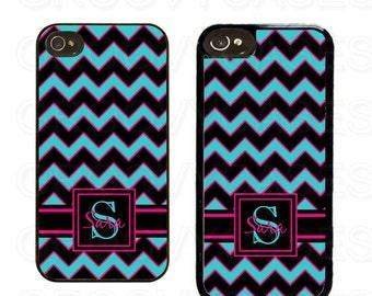Monogrammed iPhone 4 4s 5 5s 5c SE Case Rubber Blue Hot Pink Black Chevron