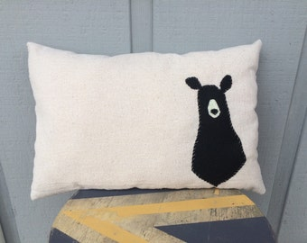 SALE Mr. Bear Muslin Hand Stitched Pillow