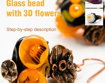 Glass Bead with 3D Flowers Lampwork Tutorial