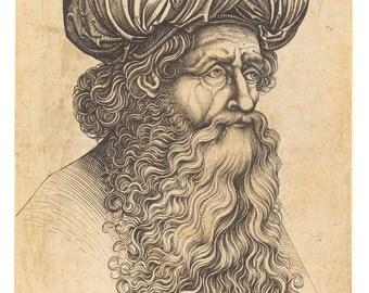 Man Wearing a Turban, 15th Century German Master Engraving Print