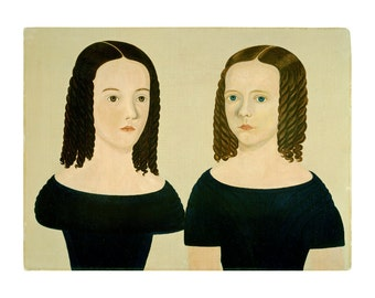 Sisters, American Folk Art Oil Painting Print