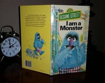 Vintage A Golden Sturdy Book Sesame Street 'I am a Monster'