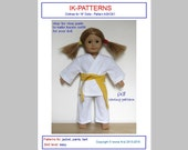 18 inch doll KARATE OUTFIT sewing pattern American Girl jacket pants belt download print