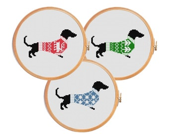 Christmas dachshund cross stitch pattern - dog modern cross stitch pattern - winter dachshund ugly sweater decor gif animal 3 in 1 set of 3