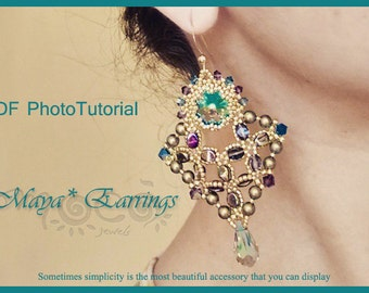 Photo Tutorial  ENG-Ita ,DIY earrings,*Maya* earrings ,PDF Pattern 61 with swarovski,cabochon,rivoli,pinch bead and seed beads