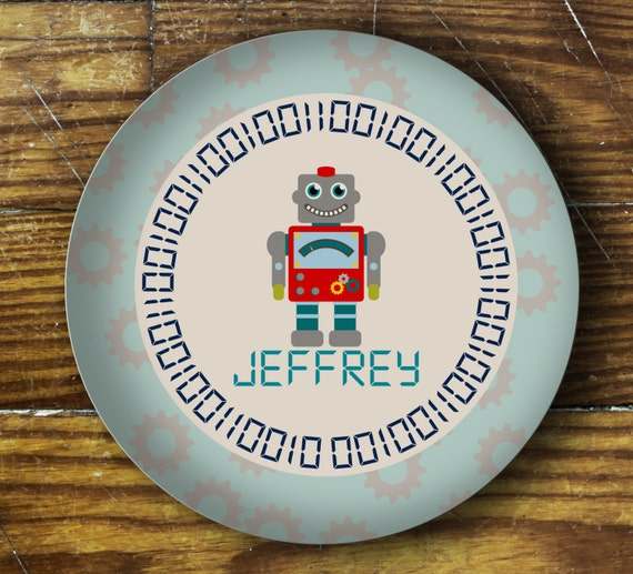 Personalized Dinner Plate or Bowl-Robot