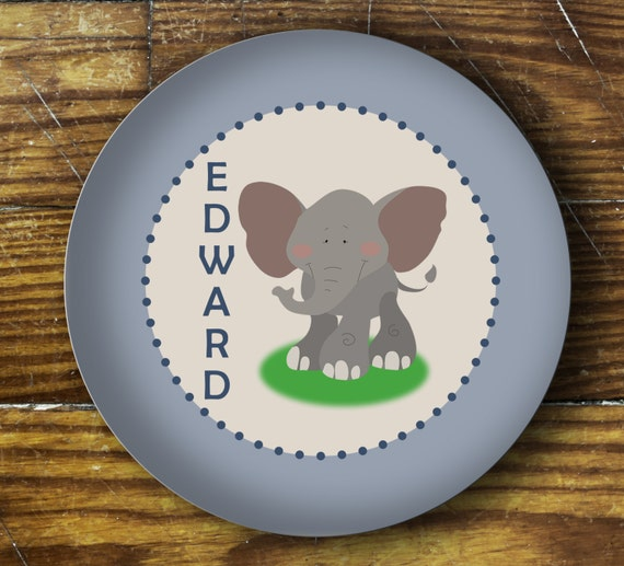 Personalized Dinner Plate or Bowl-Elephant