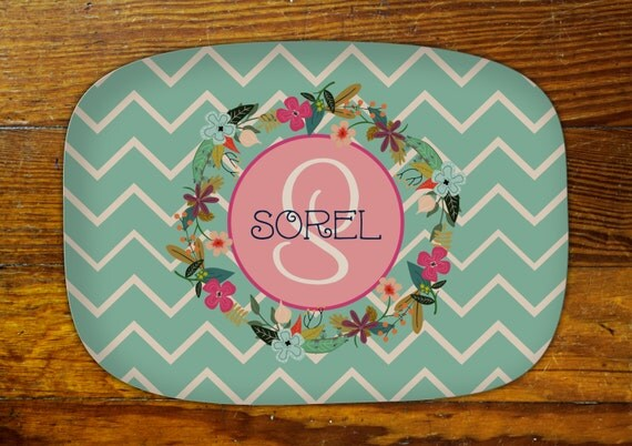 Personalized Serving Platter-Floral Wreath