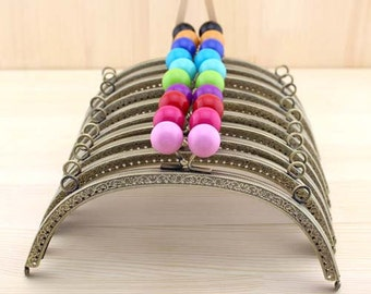 1 PCS, 20.5cm / 8.2 inch Curved Solid Bubble Bronze Kiss Clasp Lock Purse Frame with Two Side Holes, C37