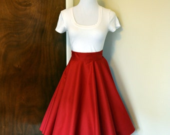 Candy Apple Red Homemade Circle/Swing Skirt