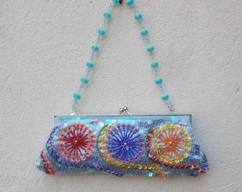 Beaded Blue Multicolor Handbag Clutch with Optional Top Handle & Shoulder Chain