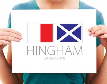 Hingham, Massachusetts, Nautical Flag Art Print