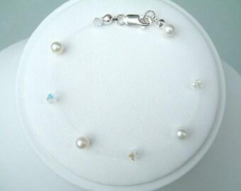 Illusion bracelet Sterling Silver Freshwater Pearl and Swarovski crystal bridal bracelet illusion wedding jewelry floating bride jewellery