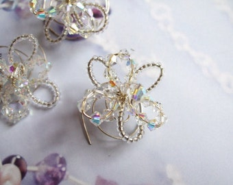 Swarovski wedding hair pins, set of 3 AB Swarovski crystal flower hair twists bridal hair pins, bridesmaid flower girl hair accessories