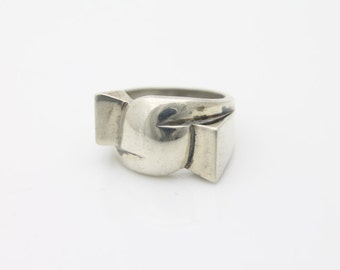 Heavy Chunky Vintage Sterling Silver Abstract Modern Artisan Ring Sz 6. [1160]