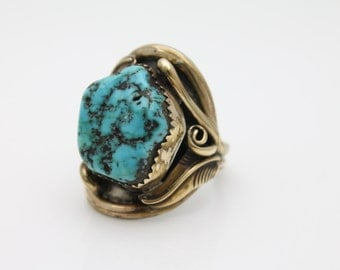 Vintage Massive Gold Sterling Silver and Turquoise Navajo Ring JY Yazzie Sz 12.5. [2646]